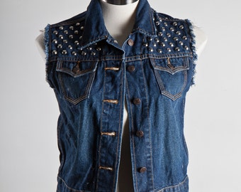 Denim Vest Jacket  - Dark Blue Frayed with Conical Studs