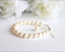 Real Pearls Sterling Silver Cross Baptism Gift Cultured Freshwater Pearls, Keepsake Bracelet, Christening, Communion -- FREE Gift Packaging