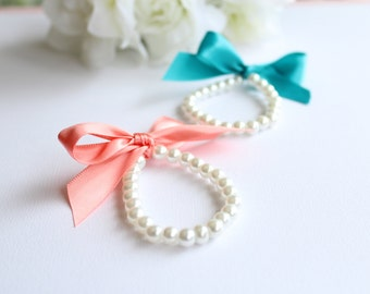 Pearls & Ribbon Bracelet Little Girl, Peach, Coral, Light Orange, Flower Girl Gift, First Pearls Many Colors- FREE Gift Packaging