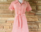 70s Day Dress / Red & White / Gingham Checkered / Short Sleeve / Large XL Plus size