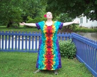 XL 2XL 3XL Tie Dye Dress -  Plus Size Tie Dye Dress - Dark Rainbow Crush Tie Dye Dress