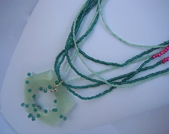Pentagon Jade Donut with Multistrand Green and Pink Seed Beads Necklace