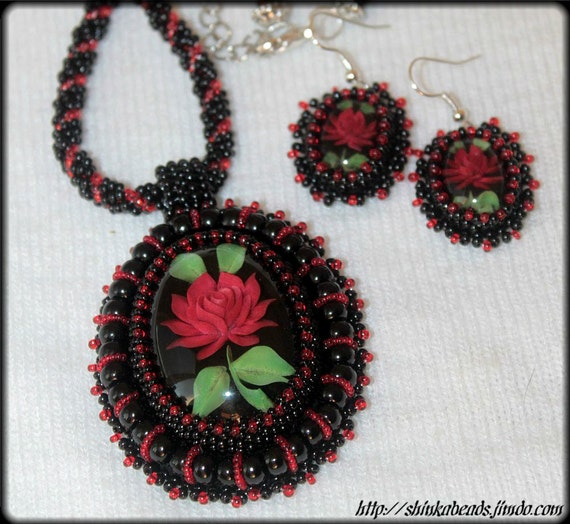 RESERVED LISTING FOR Carol267 Vintage resin rose cabochon beaded embroidered jewelry set necklace and earrings