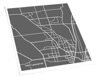 West Lafayette Indiana City Map Art Print / Purdue University Grad Gift Dorm Decor / 8x10 / Choose your color