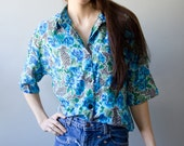 Vintage 80's Floral Shirt Short Sleeve Pocket Collar Bright Blue Flowers Black and White Pattern Hipster Large Extra Large