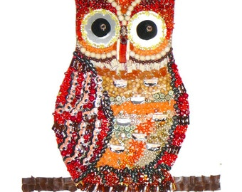 Owl Wall Art bits and beads assemblage