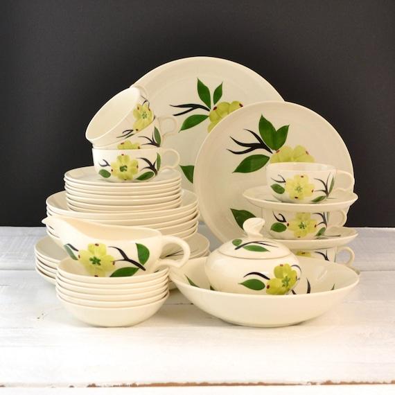 Vintage Dinnerware Set Dixie Dogwood Pattern Joni China