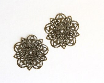 WHOLESALE Filigree Connectors Antique Bronze Flower Wrap 46mm 50pcs -  Ships Immediately from California - BC527a
