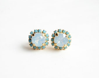 Swarovski Stud Earrings. Turquoise and White Opal. Gift for Her.  Bridesmaid Gift. Simple Modern Jewelry by Smallbluethings