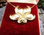 Gorham Golden Scroll Sterling Vermeil Flower Pendant