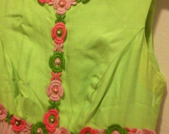 1960s Lime and Pink Party Dress Size Small
