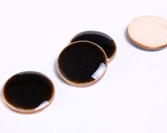 20mm Dark coffee black brown porcelain cabochons - 20mm handmade crackle porcelain - 20mm round cabochon - 4 pieces (927)-Flat rate shipping