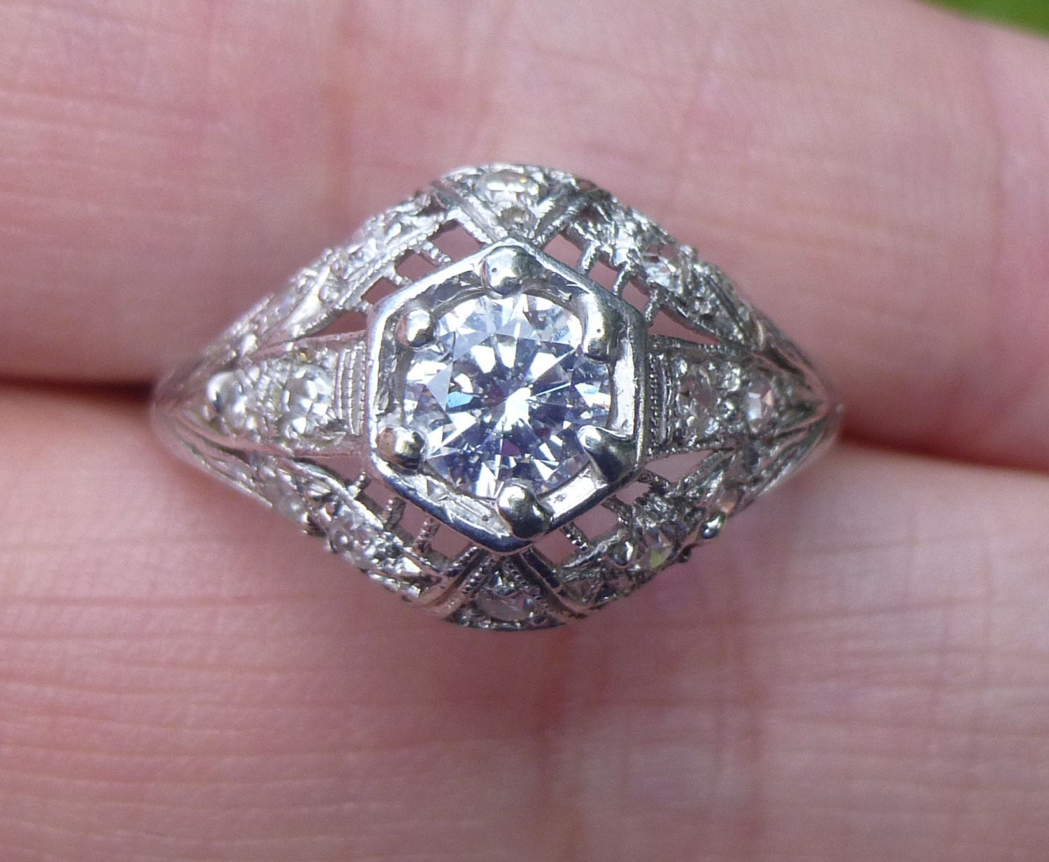 SALE Antique Filigree Ring Platinum Diamond Engagement Ring