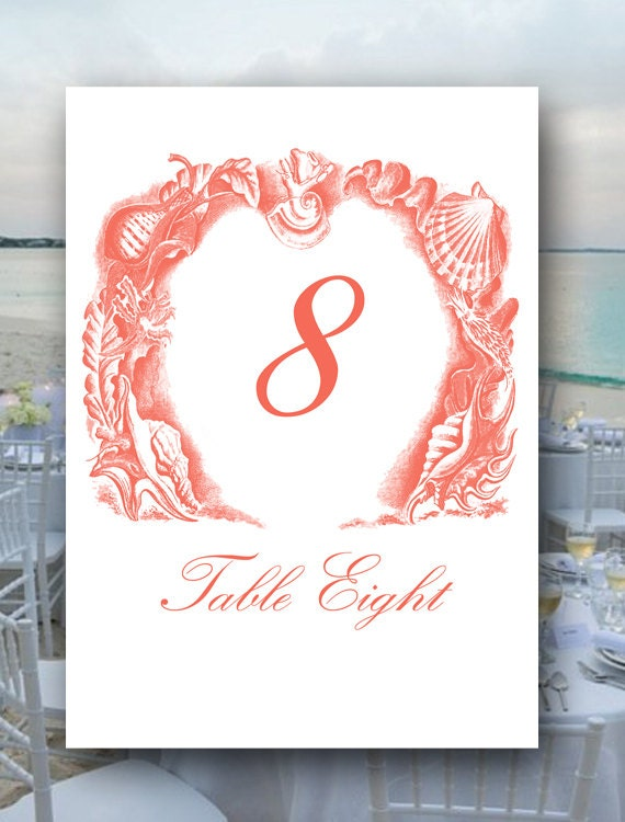 Wedding Table Numbers, Your Custom Color, Seaside Table Numbers, Ocean Table Numbers, Nautical, Bridal Shower Table Numbers, Place Cards