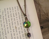 Purple crystal necklace. Rainbow glass crystal with pendant bead. vintage style jewelry