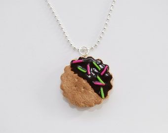 Chocolate Cookie Sandwich Necklace-Polymer Clay Charm-Gift For Her-Cookie Necklace-Fairy Kei-Lolita