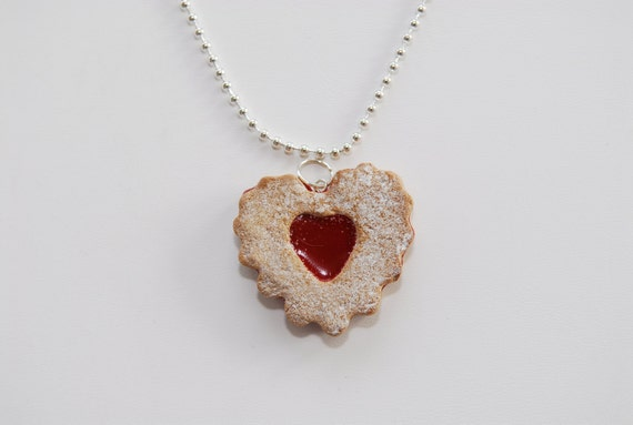 Strawberry Jelly Cookie Necklace-Jewelry-Polymer Clay-Polymer Clay Food-Miniature Food-Cookie Necklaces-Red