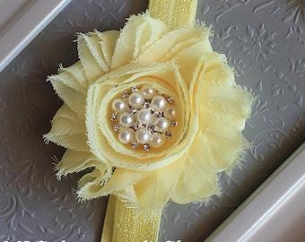 Soft Light Yellow Baby Headband - Pastel Lemon Flower Headband for Babies and Toddlers