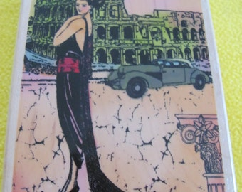 Lovely Unused Rome Diva Rubber Stamp  for card making