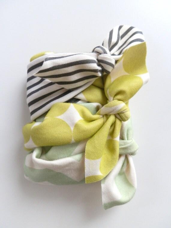 Baby Girl Headband, Set of 3, SURPRISE SET, Organic Cotton Stretchy Headbands, Newborn Photo Shoot Prop, Shower Gift