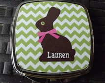 Chocolate Bunny Personalized Compact Mirror