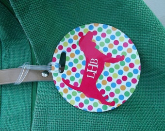 Personalized  Luggage Tag, Personalized Bag Tag  Polka Dot Pup