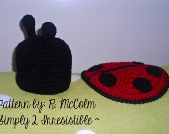 Ladybug Hat and Cover / Cape Set - Crochet Pattern Set 105 - Newborn to 6 Months Included - US and UK Terms - Instant pdf DOWNLOAD