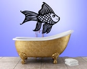 Fish wall decal, one large goldfish wall decal