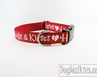 """Limited - Hugs and Kisses - Valentine Dog Collar - 1"""" (25mm) Wide -  Choice of collar style and size - Martingale or Quick Side Release"""