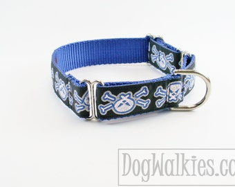 "Silver Skulls and Bones Dog Collar - 1"" (25mm) Wide - Choice of collar style and size - Quick Release or Martingale Dog Collar"