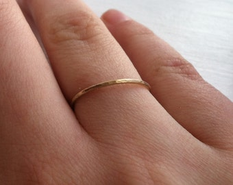 14k Yellow Gold Fill Thin Stacking Ring, Smooth or Hammered Finished Textured - custom made to order