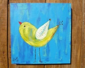 Nursery Painting:Yellow Bird on Blue background 12x12