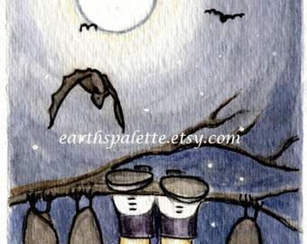 Bat vampire, ATC , 2.5X3.5 PRINT from original illustration, halloween art & collectibles earthspalette