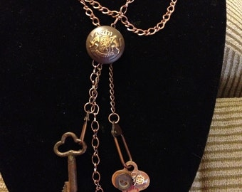 Scrappy Steampunk Antique Button & Key Necklace 23 inch Chain