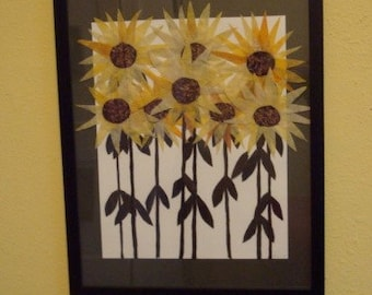 Batik Fabric Collage Art Sunflowers