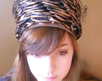 Vintage Pillbox Hat Straw Black with Net 1960's Vintage Hairpin Jackie O Madmen Fashion