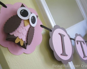 It's A Girl Owl Banner - Owl Baby Shower Banner- Owl Baby Shower Decorations- Owl Name Banner