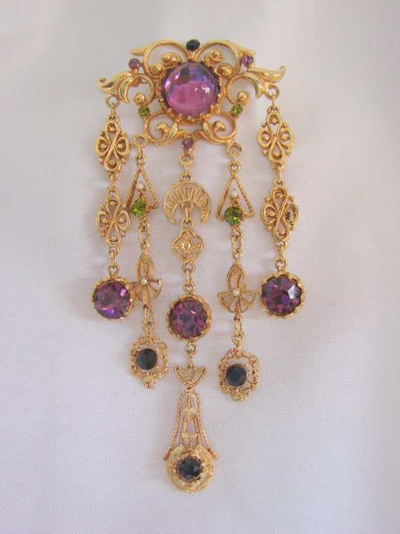 """Victorian Revival Girandole Brooch - Signed """"Lupe"""" (Magnificent Glass Stones)"""