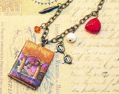 Book necklace with miniature book locket and matching charms, boy wizard, chosen one, bookish jewelry, bookish gifts
