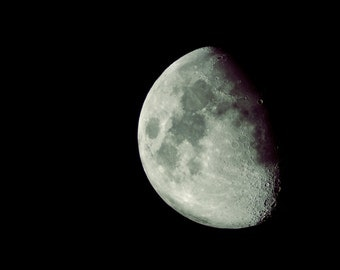 Luna - Original Fine Art Photograph - Half Moon Phase, Astronomy, Square, FREE SHIPPING