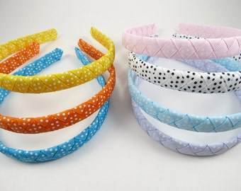 Polka Dot Headband - Braided Woven Headband - Blue Orange Yellow Pink White Polka Dot Headband - Toddler Adult Headband - YOU CHOOSE ONE