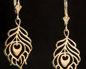 Bronze Peacock Feather Earrings on Gold-Filled Leverbacks