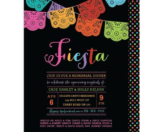 Papel Picado Mexican Themed Party,  Rehearsal Dinner Invitation, Wedding Party Invitations, Printable or Printed