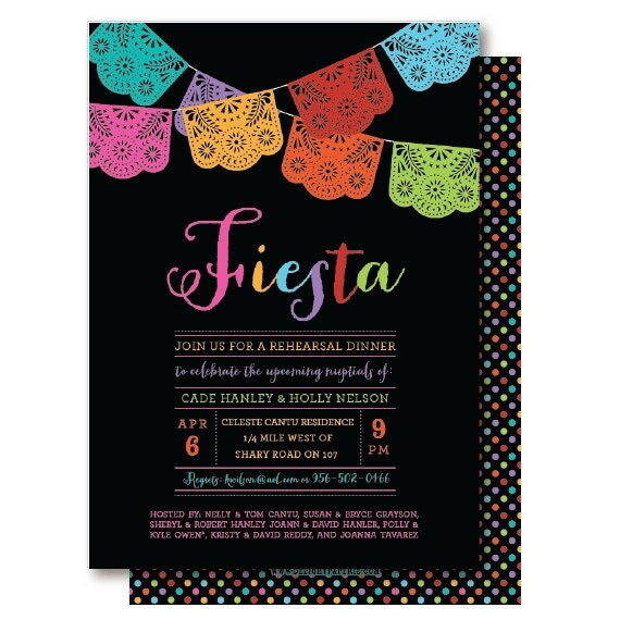 Papel Picado Mexican Themed Party Rehearsal Dinner – Mexican Themed Party Invitations