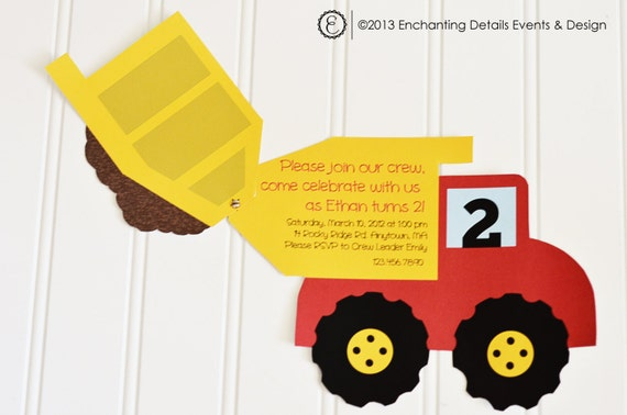 Items similar to INSTANT DOWNLOAD Dump Truck Printable Invitation – Dump Truck Party Invitations
