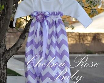 Baby Girl Dress, Baby Girl bodysuit Dress, Lavender Chevron, Designer Sleep Gown, Layette, Baby Nightgown, Newborn Sleep Sack, Baby Girl