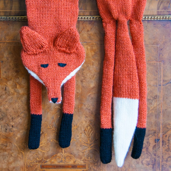 Knitted Faux Fox Stole Scarf 3 Hand Made 3 Wool by sincerelylouise