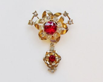 Vintage pin with dangle, 1950's gold-tone pin with red and clear rhinestones