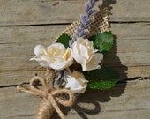 Cream Roses and Lavender Boutonniere, French Country Wedding Flowers, Rustic Buttonhole Flower