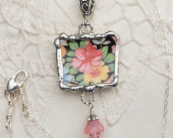 Necklace, Broken China Jewelry, Broken China Necklace, Black, Peach and Pink Floral China, Sterling Silver, Soldered Jewelry